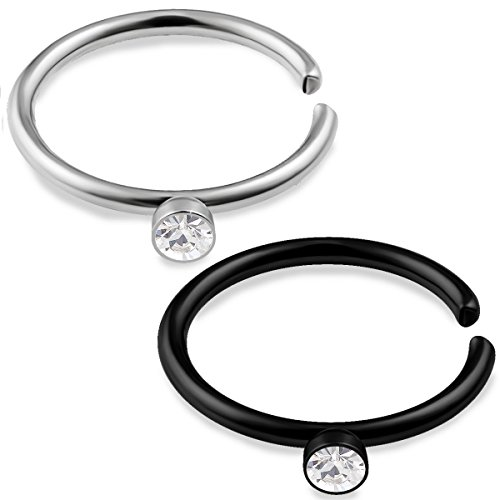 bodyjewellery 2pcs 20g 5/16 Nose Ring Hoop Anodized Surgical Steel Nostril Cartilage Piercing Earrings Gauge Clear Crystal - Steel & Black