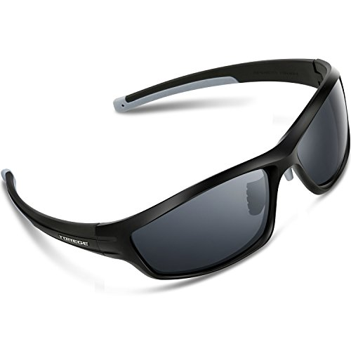 Torege Polarized Sports Sunglasses For Man Women Cycling Running Fishing Golf TR90 Unbreakable Frame TR034 (Black&Gray tips&gray - Winter Sunglasses