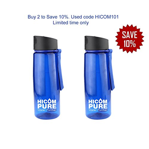 HiComPure A Water Bottle with 2 stage filter, double the water purification, top rated water filters, the water bottle is easy to attach everyday use, come with a complementary survival bracelet