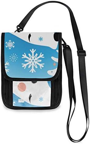 くま 雪の森 パスポートホルダー セキュリティケース パスポートケース スキミング防止 首下げ トラベルポーチ ネックホルダー 貴重品入れ カードバッグ スマホ 多機能収納ポケット 防水 軽量 海外旅行 出張 ビジネス