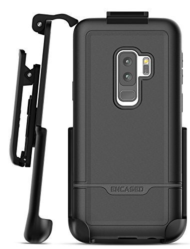 Galaxy S9 Plus Belt Case, Encased [Rebel Series] Rugged Tough Case with Secure Clip Holster for Samsung Galaxy S9+ (2018 Release) Military Spec Armor Protection (Smooth Black)