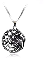 Silver Tricarian dragon necklace from the Game of Thrones