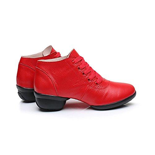 arrotondata Scarpe Punta Scarpe Dimensione donna Scarpe traspiranti Scarpe da B ballo 40 Comfort da con in pelle Colore Sneakers XUE C ballo moderne quadrate latine da lacci xIqR11w