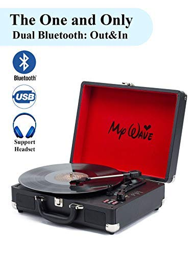 MyWave Portable Bluetooth Wireless Turntable with Built-in Stereo Speakers, 3-Speed,Vinyl-to-MP3 Recording,Both Bluetooth Transmit Out & Receive in,AUX in,RCA Out,Headphone Jack,Black (Black) by MyWave (Image #1)