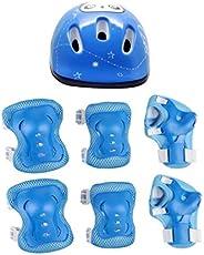 TOYANDONA 7pcs Kids Helmet Pad Set Elbow Knee Wrist Pads Adjustable Safety Sports Protective Gear Set for Kids