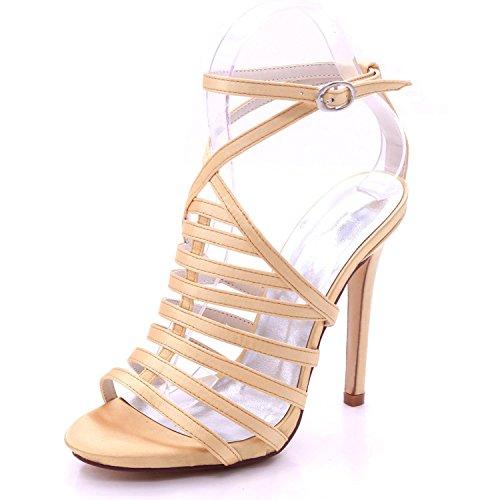Elegant high shoes Sandalias de Hebilla de Tacón Alto de Mujer Abierta 3-8 Zapatos de Corte Fiesta de Verano Dama de Honor Multicolor de Gran Tamaño golden