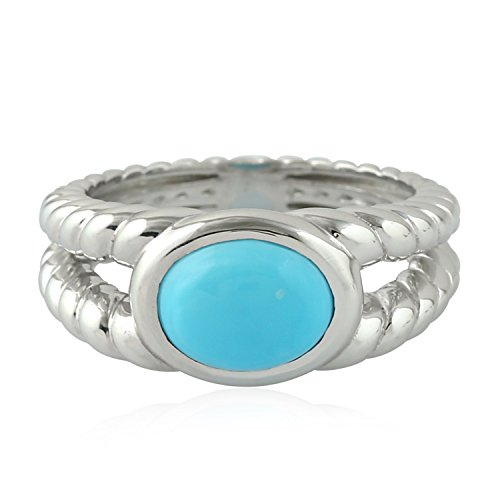 Sterling Silver Natural Oval Cut Turquoise Rope Style Solitaire Ring