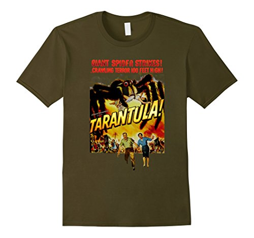 [Men's Tarantula! Retro Horror Spider Movie Halloween T-Shirt Large Olive] (Throwback Halloween Costumes)