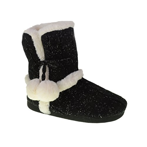 Chinese Laundry Womens Bootie Slipper, with Pom Poms, Plush & Knit Slipper Bootie with Memory Foam, Size XL / 11-12 Black