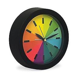 Slash 6.3 Modern Creative Round Rainbow Quiet Non-ticking Sweep Second Hand, Quartz Analog Desk Clock,Battery Operated, Loud Alarm (Black)