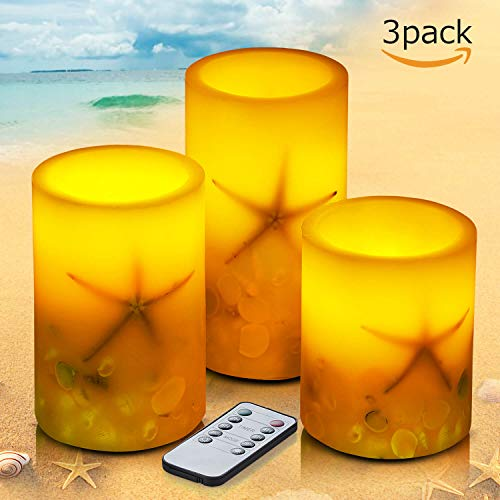 Light Three Seashell - Flameless Candles with Remote Control&Timer Battery Operated Real Wax Led Pillar Candles with Real Starfish and White Seashell Flickering Candle Light Set of 3(D 3.5