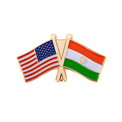 India Country Double Flag Lapel Pin Enamel With United States Usa Us Made Of Metal Souvenir