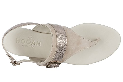 Hogan sandali donna in camoscio beige