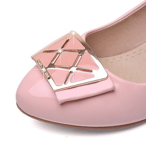 VogueZone009 Damen Ziehen auf PU Leder Rund Zehe Mittler Absatz Rein Pumps Schuhe Pink