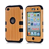 Candywe Case for touch 4 3in1 Hard Wood+Silicone Design Hybrid Cover Case Suitable Fit For iPod Touch 4th Generation Black