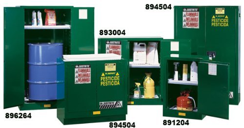 Justrite 891224 Sure-Grip EX Steel 1 Door Self Close Compac Pesticides Safety Storage Cabinet, 12 Gallon Capacity, 23-1/4