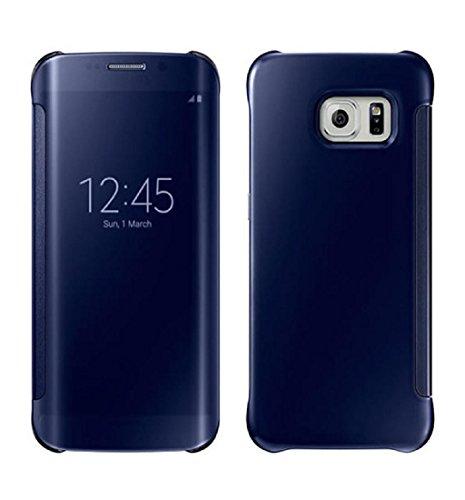 Tenworld Luxury Flip Clear Acrylic Case Cover Skin Armor For Samsung Galaxy S6 Edge (Blue)
