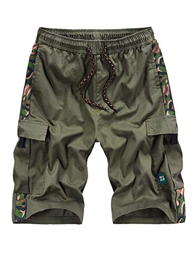 APTRO Men's Cargo Shorts Relaxed Fit Multi-Pockets Camo Casual Shorts Army Green XL (Casual Men Xl)