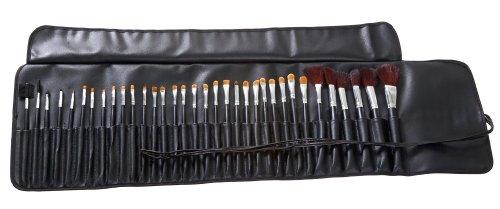 MASH 34PC Studio Pro maquillage Make Up Cosmetic Brush Set Kit w / Leather Case - pour l'ombre à paupières, blush, correcteur, etc