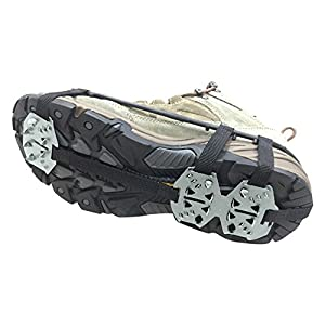Od-sports 1 Pair 18 Teeth Unisex Multi-function Anti-slip Ice Cleat Shoe Boots Traction Crampon Chain Spike Non-slip for Climbing Walking Travel
