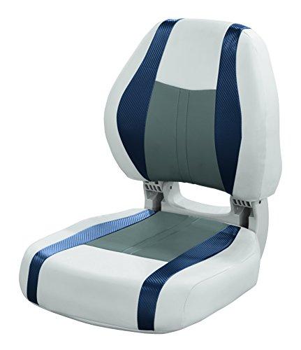 Wise 3011-1801 Sky Grey, Dove Grey, Laguna Blue Carbon Fiber Talon Torsa Frame Folding Boat Seat, Sky Grey-Dove Grey-Laguna Blue Carbon Fiber