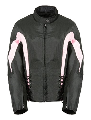 Bikers Edge Women's Nylon Zip-Out Lining Jacket with Lace (Black/Pink, Medium) (Womens Lace Jacket Motorcycle)