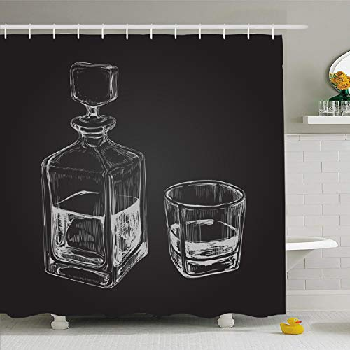 Ahawoso Shower Curtain 66x72 Inches Bar Bourbon Sketch Whiskey Bottle Glass Food Alcoholism Drink Decanter Alcoholic Beverage Design Waterproof Polyester Fabric Set with Hooks ()