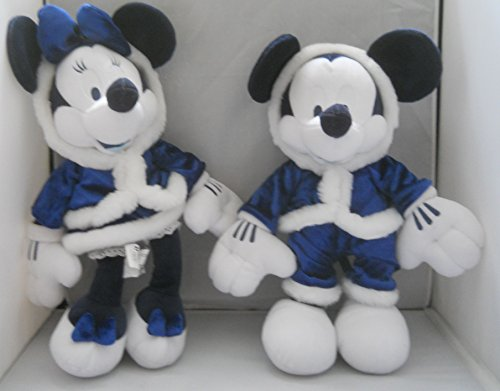 """Disney Winter Wonderland 15"""" Mickey and Minnie Mouse in Blue Plush"""