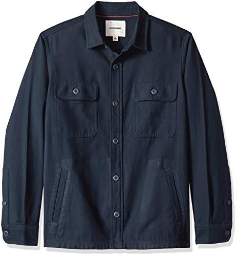 Goodthreads Men's Military Broken Twill Shirt Jacket, -navy, Small Blue Cotton Twill Jacket