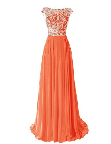 R&J Bridesmaid Floor Length Elegant Cap Sleeve Prom FormalEvening Dress Orange Size 18 (Round Peach Coral Bead)