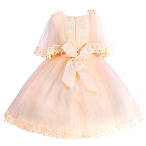 omaysaa Girls Classy Embroidered/Beaded/Bowknot,Wedding Baptism Party Flower Girl Princess Dress Champagne