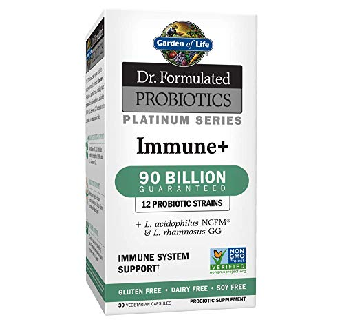 Garden of Life Dr. Formulated Probiotics Platinum Series Immune+ 90 Billion CFU Guaranteed, One a Day Probiotic Supplement Acidophilus & Rhamnosus, Vegan, Non-GMO Immune System Support, 30 Capsules