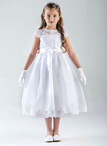 US Angels Cap Sleeve Illusion Lace Bodice w/Full Skirt & Lace Hem Dress (8) White