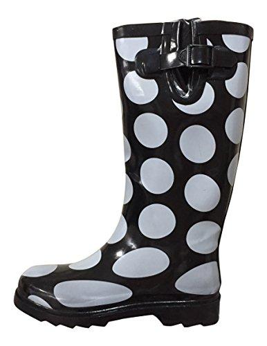 Dames Mstkh Rubberen Regenlaarzen Psw Zwart / Witte Stippen Groot