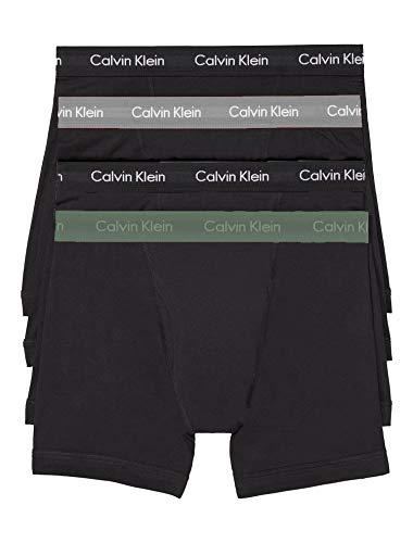 Calvin Klein Men`s Cotton Boxer Briefs 4 Pack (Black(NP2009-937)/Olive/Grey, Large)