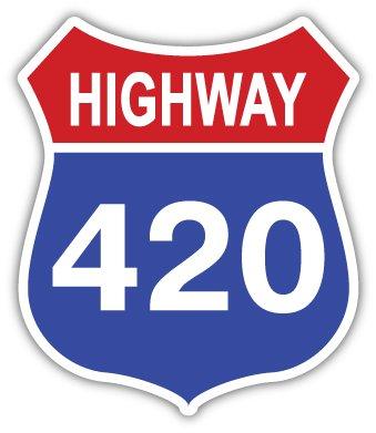 "Highway 420 weed cannabis marijuana sticker decal 4"" x 5"" by szstickers"