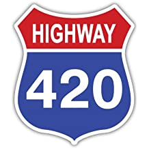 "Highway 420 weed cannabis marijuana sticker decal 4"" x 5"""