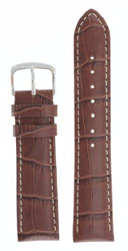 Mens Alligator Grain Watchband Natural Matte Finish Brown 22mm - by JP Leatherworks