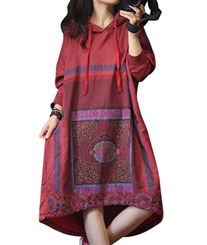 YESNO YK9 Women Casual Loose Ethnic Floral Hoodies Sweatshirts Jackets Curved Hemline with Drawstring Long Sleeve/Pockets