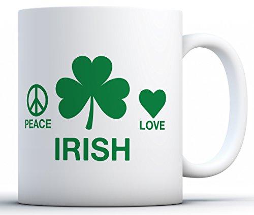Awkward Styles Peace Irish Love Coffee Mug St Patrick's Day Gifts White 11 oz