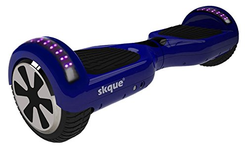 Self Balancing Scooter (MAX 220 lbs), Skque 6.5' I1.3 UL2272 Smart Two Wheel Self Balancing Electric Scooter with Bluetooth Speaker and Running LED Lights, Blue