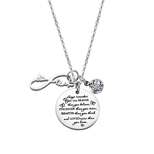Fullrainbow You are Braver Than You Believe Stainless Steel April Birthstone Necklace Gift for Girls
