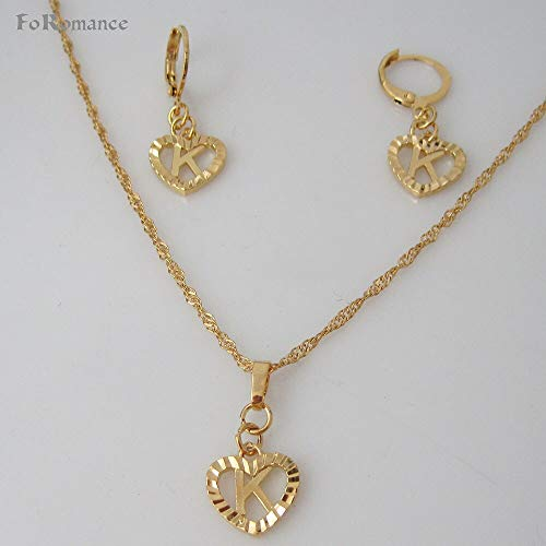 - Foromance Gold Overlay Heart Line Carved Pendant, Necklace, Earring Jewelry Sets (26 Letters)
