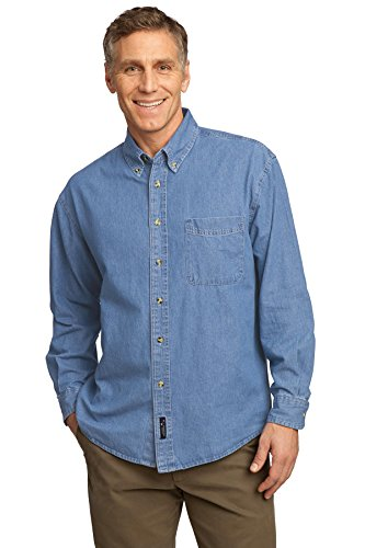 Port & Company Men's Long Sleeve Value Denim Shirt L Faded Blue