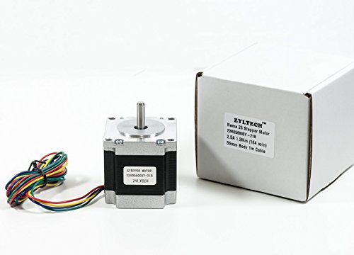 Zyltech Nema 23 Stepper Motor 2.5 A 1.3 Nm 184 oz.in 56mm Body w/ 1m Cable for 3D Printer/CNC by Zyltech