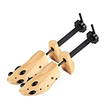 Unisex Professional 2-Way Shoe Tree Stretcher Size 4-13, Adjustable Length & Width, Wood Shaper Set of 2