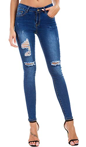 Women's Boyfriend Jeans Distressed Slim Fit Ripped Jeans Stretch Skinny Jeans
