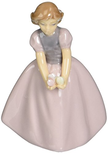 Cosmos 96662 Fine Porcelain Girl in Pink Dress Holding Flowers Figurine, 3-1/8-Inch