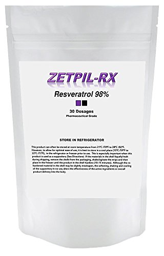 Zetpil Resveratrol 98%, High Potency Japanese Knotwood Trans Resveratrol Suppositories, Maximum Absorption, Supports the Heart and Cardiovascular System, Anti Aging, 441 mg, 30 Count by Zetpil