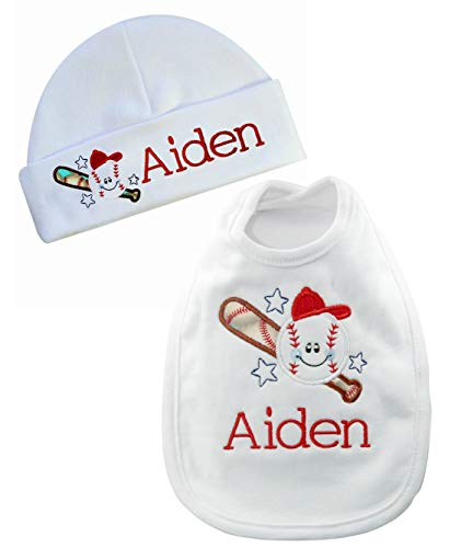 Personalized Baby Boy Baseball Bib with Matching Cotton Beanie Hat- Personalized with Your Custom Name-Baby Gift Set (White & ()